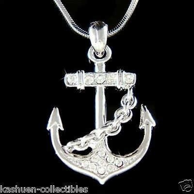 w Swarovski Crystal Nautical YACHT CLUB ANCHOR Marine Boat Pendant Necklace Gift