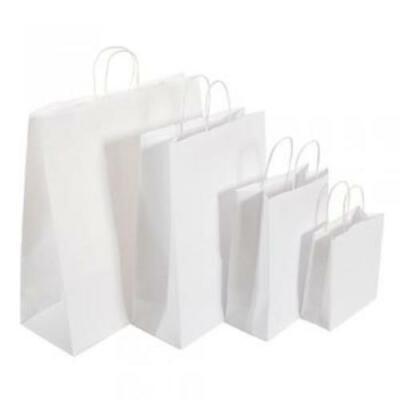 250 Full Box MEDIUM WHITE KRAFT PAPER SOS CARRIER BAGS (220X250X110mm Approx.)