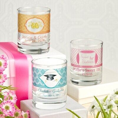 144 Personalized Shot Glass Or Votive Candle Holders Wedding Shower Party - Shot Glass Wedding Favors