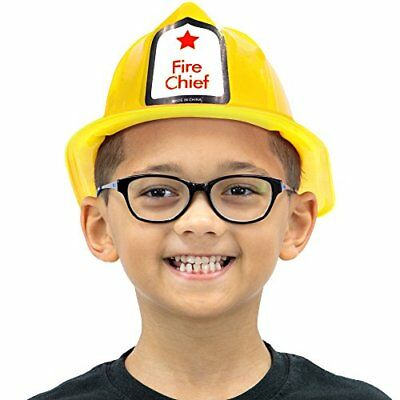 Fireman's Helmet Kid's Halloween Costume Hat Accessory - Dress Up Roleplay Yello