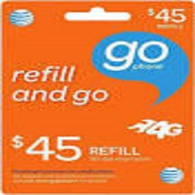 AT&T Go phone $45 Refill. FASTEST REFILL card Credit applied DIRECTLY to PHONE