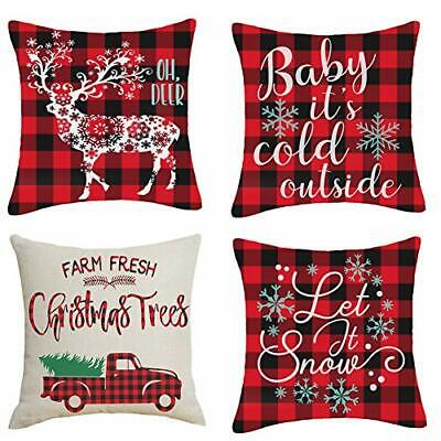 24x24 Christmas Throw Pillow Covers, Decorative Outdoor Farmhouse Merry Christm