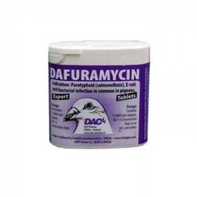 Pigeon Product - Dafuramycin 50 TABLETS - Salmonelosis  - E-Coli - by DAC