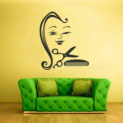 Wall Decal Vinyl Sticker Decals Scissors Brush Hair Saloon Woman Face (Z2419) for sale  Shipping to India