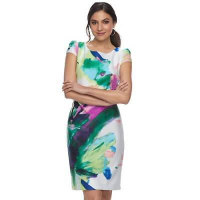 Donna Ricco Printed DR Multi Sheath Dress (Women's Size 8 10 12) NWT MSRP $100](Dresses Size 10 12)