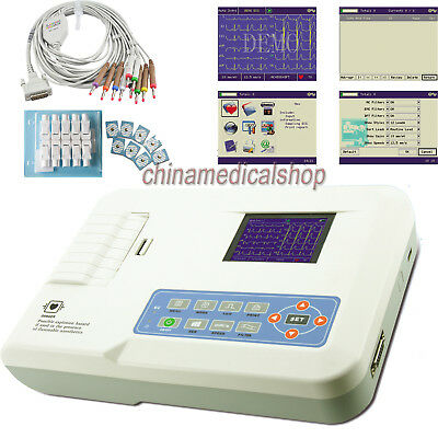 Us Seller Ecg Ekg Machine Electrocardiograph Digital 3 Channel 12 Lead Software