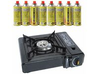 PORTABLE GAS COOKER STOVE + 8 BUTANE BOTTLES BEACH CAMPING FISHING - NEW & SEALED