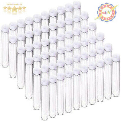 Depepe 60 Pcs 13x75mm Clear Mini Plastic Test Tubes With Caps 6ml For Scie...