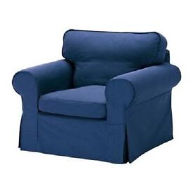 Ikea Ektorp Armchair and Footstool covers. Navy blue with contrast piping.