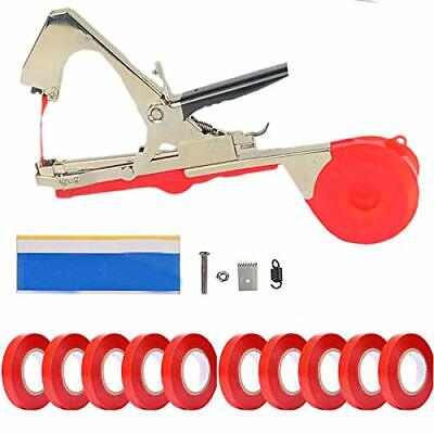 Plant Vine Tying Machine Tapener Tool Red Garden Plant Tape Tool with 10 Rol