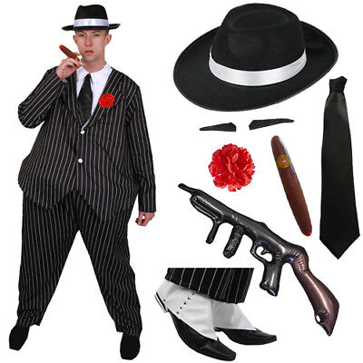 DELUXE FAT GANGSTER COSTUME HAT TIE MENS 1920'S FANCY DRESS AL CAPONE OUTFIT