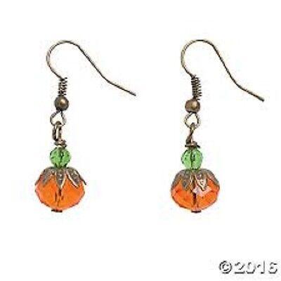 Glass Pumpkin Bead Cap Earring Kit Jewelry Making Halloween Fall Green Orange