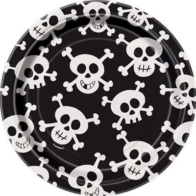 PIRATE PARTY Skulls SMALL PAPER PLATES (8) ~ Birthday Supplies Cake Dessert
