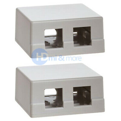 2x Double Hole Surface Mount Keystone Jack Wall Box 2 -