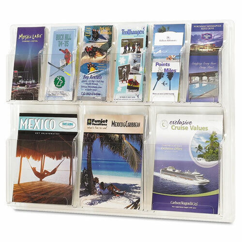 Safco Reveal Clear Literature Displays, Nine Compartments, 30w 5605cl