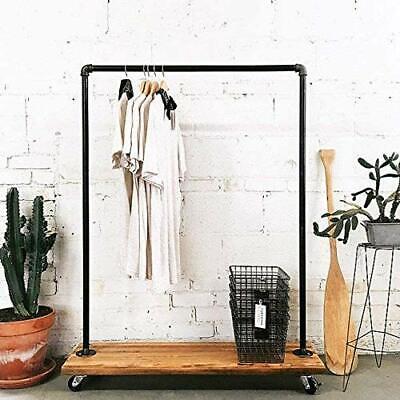 Industrial Pipe Clothing Rack Garment Rack Pipeline Vintage Rolling Rack With...