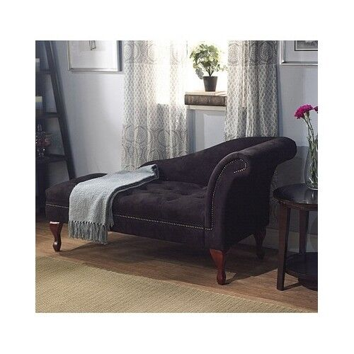 Lounge Storage Chaise Loveseat Sofa Couch Bench Chair Living Room Seat  Furniture - Black Storage Chaise Loveseat Lounge Sofa Accent Chair Living Room