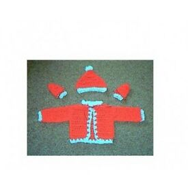 crocheted xmas baby set first size new