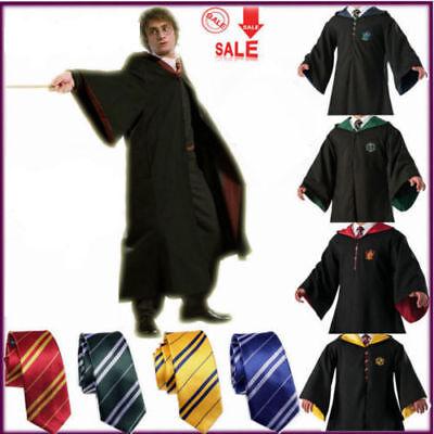 Adult Child Harry Potter Gryffindor Robe Cloak Costume Cape Tie Set Glass Cospla (Adult Child Costume)