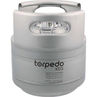 Torpedo Keg 1.5 Gallon Stackable Stainless Steel Ball Lock Kegs Wrolled Handles