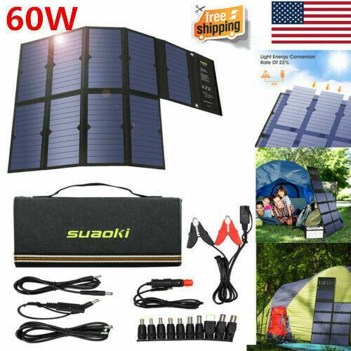 Suaoki 60W Solar Panel Solar Battery Charger Portable Dual P