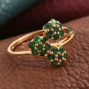 Pretty Zambian Emerald Floral Cluster 14K Y Gold/925 Ring Size R