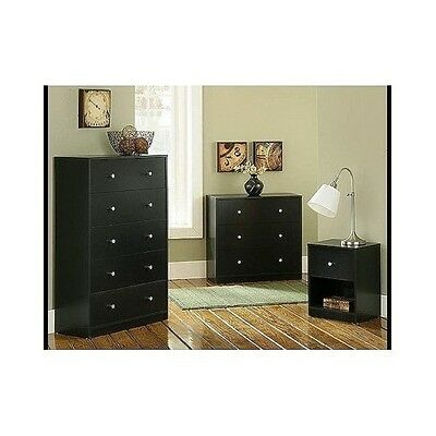 Contemporary Bedroom Furniture Set 3 Piece Black Dresser Chest Nightstand Wooden