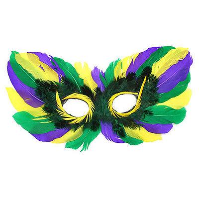 (6) Lila Grün Gold Mardi Gras Maskerade Party Feder Augenmaske Kostüm