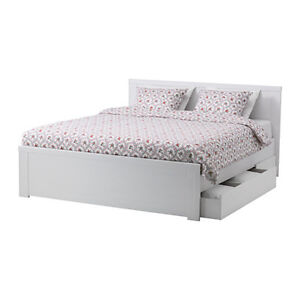 Brusali Ikea Queen Bed Frame in White with Drawers