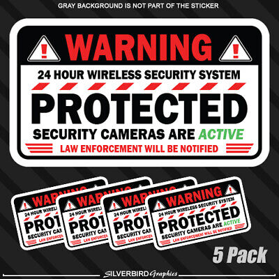 Security Warning Stickers - 5 pack Warning Camera Security sticker window alarm decal home business alarm