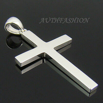Mens Sterling Silver 925 Simple Cross Pendant Plain for Necklace Charm P315S