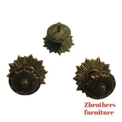 3 Vintage Regency Brass Hardware Drawer pulls Handles Dresser pierce carved  3' Regency Brass Pull
