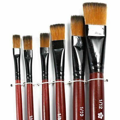 - Pack of 6 Art Brown Nylon Paint Brushes for Acrylic YM