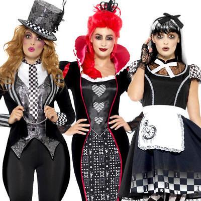 Dark Wonderland Ladies Fancy Dress Halloween Fairy Tale Horror Adults - Dark Fairy Fancy Dress Kostüm