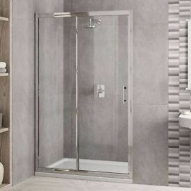 NEW SHOWER ENCLOSURE WITH STONE TRAY AND WASTE TRAP 1100 X 700 X 1850 high! LESS THAN HALF PRICE