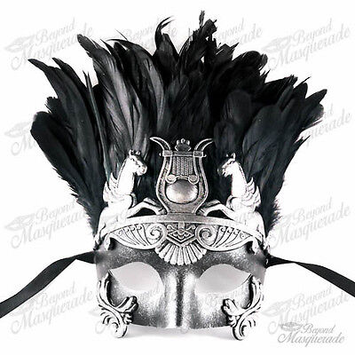 Mens Silver Greek Masquerade Mask - Roman Warrior Venetian Mask with - Masquerade Mask With Feathers