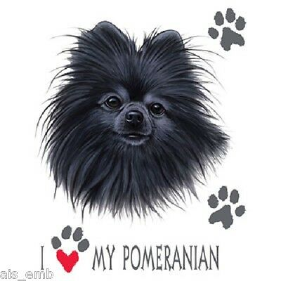 Black Pomeranian Dog Heat Press Transfer Print For Shirt Sweatshirt Fabric 893a