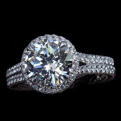 Genuine 2.05 Ct. Round Brilliant Cut Diamond Split Shank Engagement Ring 18k GIA