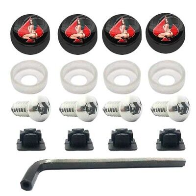 ANTI THEFT LICENSE PLATE SECURITY SCREWS STAINLESS + BLACK PIN GIRL SPADE CAPS