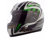 Brand New Ex Demonstration Duchinni D721 Green Multi Full Face Motorcycle Crash Helmet 4 Star Rating