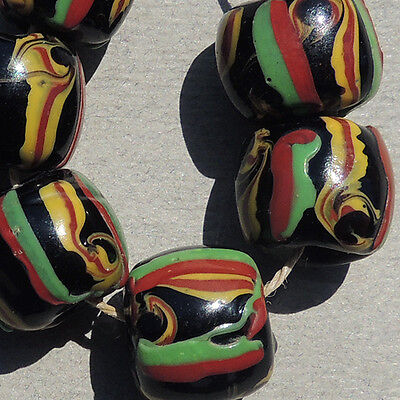6 old antique venetian cylindrical fancy beads african trade #1539