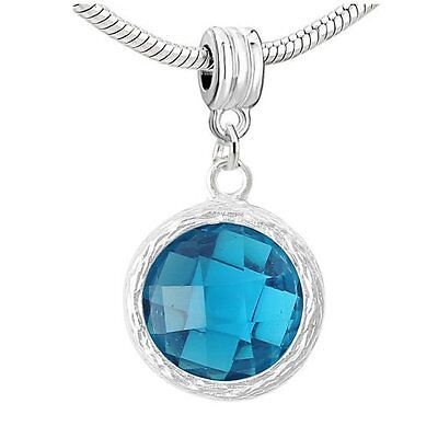 December Turquoise Cubiz Zirconia Crystal Birthstone Charms for Snake Chain Charms & Charm Bracelets