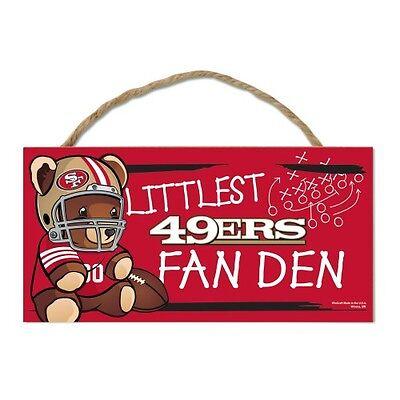 """San Francisco 49ers Littlest Fan 5""""x10"""" Fan Cave Wood Sign NFL Wall Decor"""