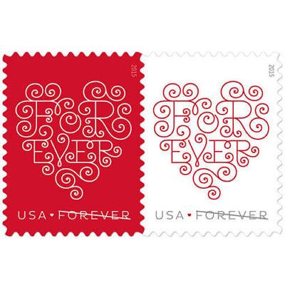 Forever Heart USPS Forever Postage 300 Stamps Wedding Valentine Day Love
