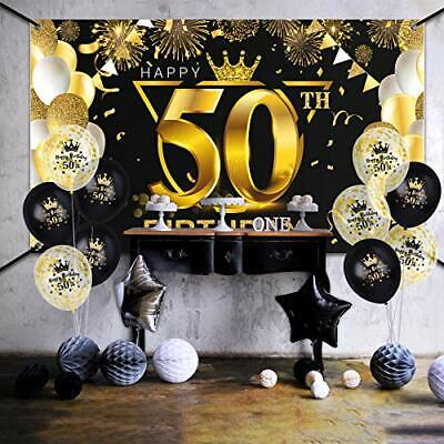 ADXCO 50th Birthday Party Supplies Set Black and Gold Including Extra Large B...