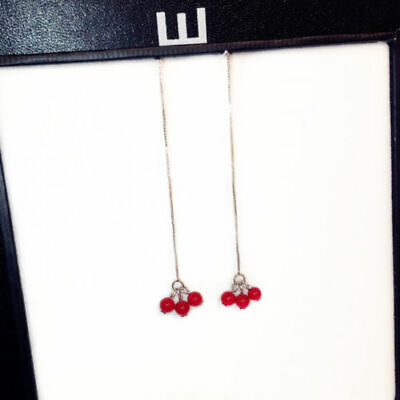 9K Plated Chain Drop Multi Red Bead Cherry Stud Earrings 8.2*0.9CM Two Way 8' Two Way Plate