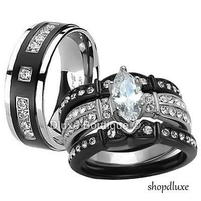 HIS HERS 4 PC BLACK STAINLESS STEEL & TITANIUM WEDDING ENGAGEMENT RING BAND SET