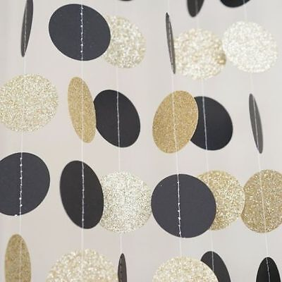 Black and Gold Glitter Circle Polka Dots Paper Garland Banner Party Decor 10 FT - Black And Gold Garland