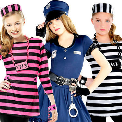 Cops or Robbers Girls Fancy Dress Prisoner Inmate Criminal Childs Kids Costumes