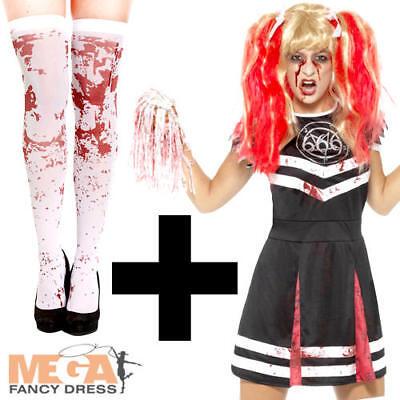 Undead Cheerleader + Stockings Ladies Fancy Dress Zombie Halloween Adult Costume - Xs Stock Halloween Costumes